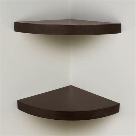 brown chunky wood curved radial floating corner wall shelf pair set of 2 shelves ebay