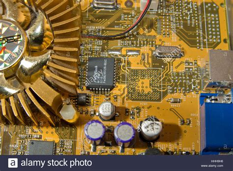 capacitor graphic card printed circuit board circuit capacitor resistors graphics card stock photo royalty free