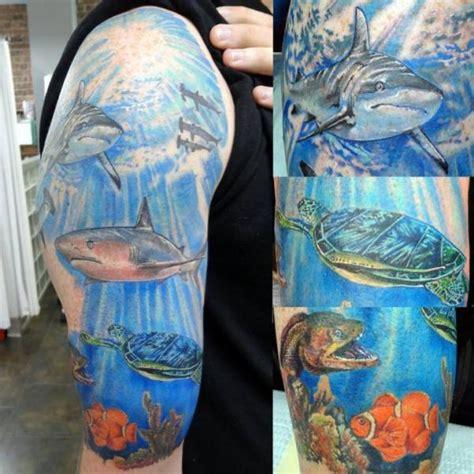 arm shark sea turtle tattoo by insight studios