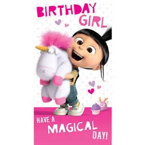 birthday agnes fluffy unicorn minions card minion shop