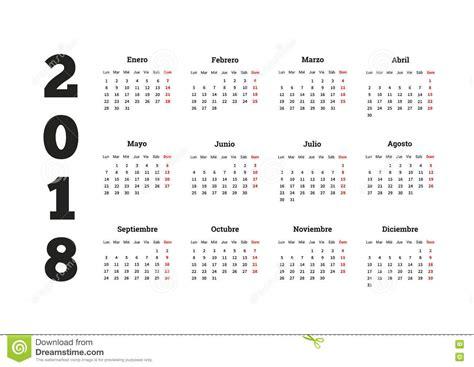 El Calendario A O A 241 O Simple Calendario 2018 En Lengua Espa 241 Ola