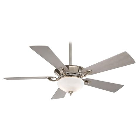 nickel ceiling fan with white blades ceiling fan with light with white glass in polished nickel