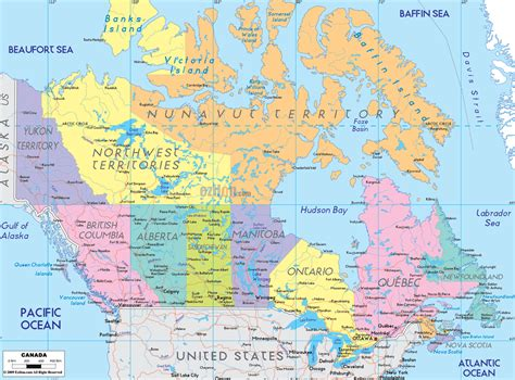 map of canada political map of canada ezilon maps