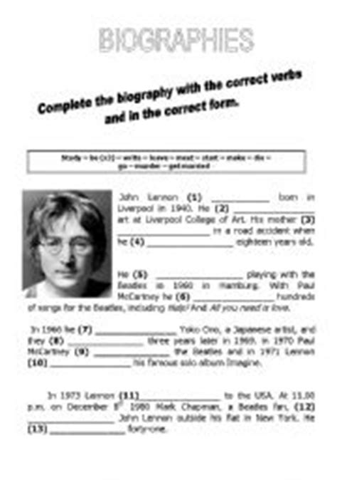 esl biography exercise english teaching worksheets biographies