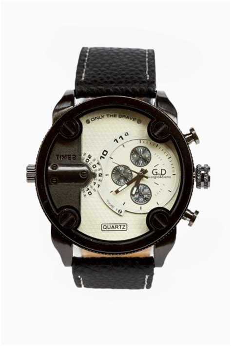 mens chunky chronograph black rust silver just 163 5