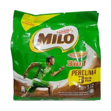 Milo Malaysia Milo 3 In 1 Sachet jual produk minuman coklat sachet harga promo diskon