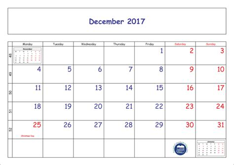 printable calendar 2017 december with holidays blank printable december 2017 calendar with week numbers
