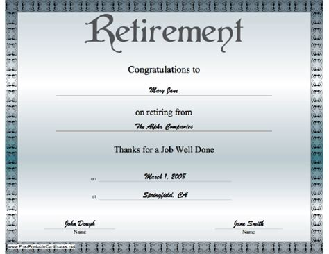 retirement certificate free printable certificates party