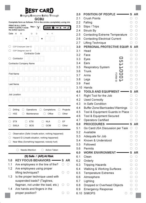 safety observation card template 27 images of safety observation checklist template