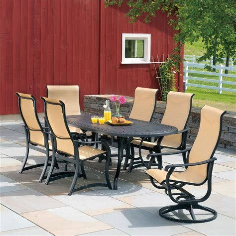 7 piece villa sling patio dining set from telescope casual