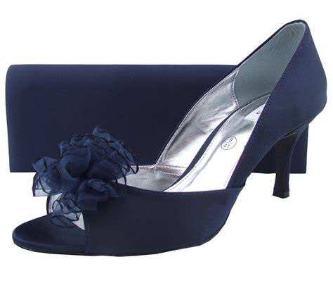 Navy Satin Wedding Shoes by Navy Satin Lexus Shoes Evening Shoes Heeled Shoes