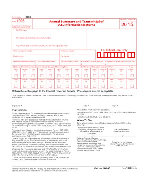Transmittal Letter Tax Return annual summary and transmittal of u s information returns