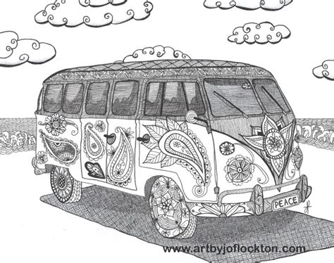 hippie volkswagen drawing hippie vw bus colouring zentangles