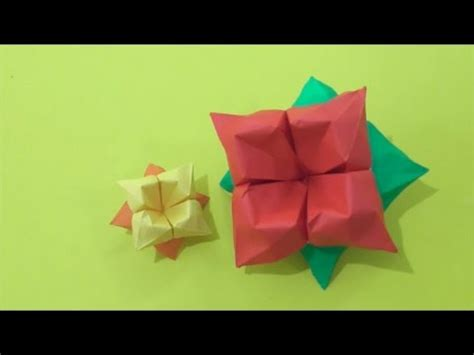 Origami Hibiscus Flower - easy origami how to make hibiscus flower 简单手工折纸 大红花 簡単折り紙