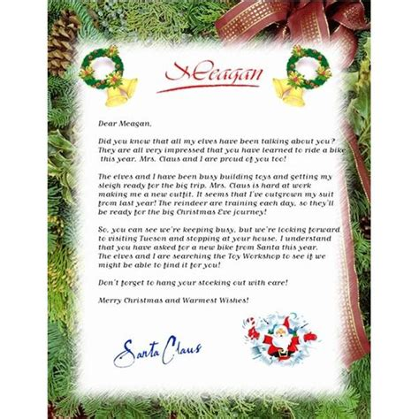 letter from santa claus template free letter from santa claus new calendar template site