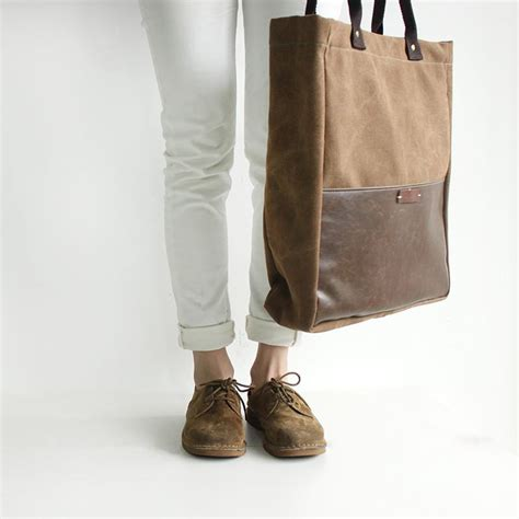 Handcrafted Leather Products - handcrafted canvas and leather casual tote bag shopper bag