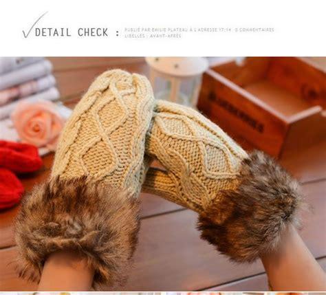 Sarung Tangan Dingin sarung tangan musim dingin beige knitting gloves 000099