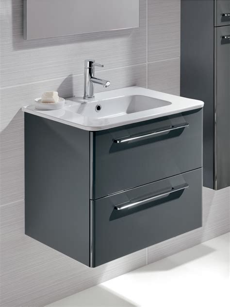 Grey Vanity Unit by Ramia Gloss Grey 60cm Wall Hung Vanity Unit 2 Drawer