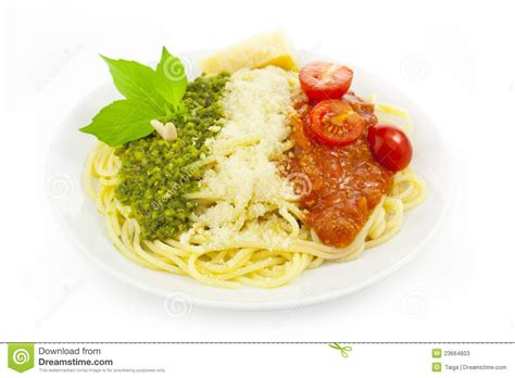 italian flag pasta with green pesto stock photos