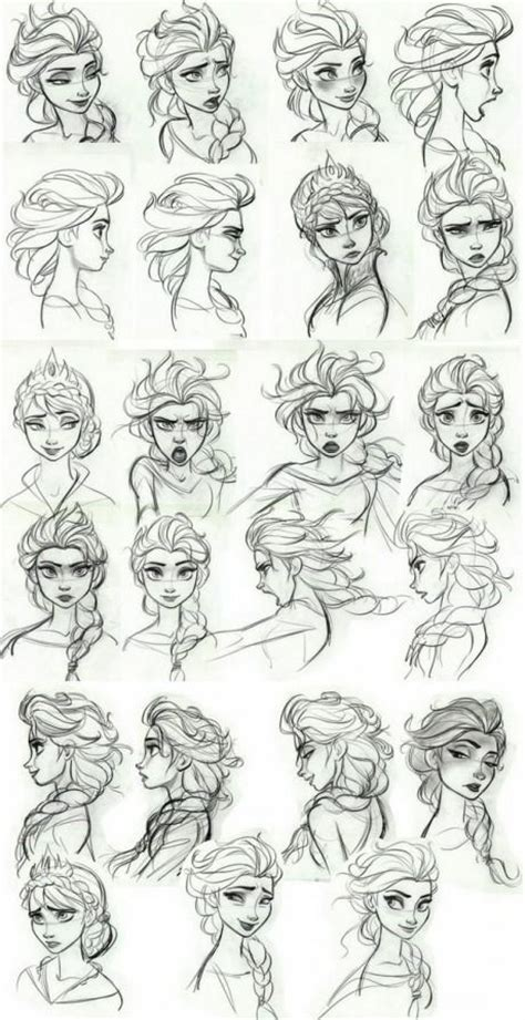 doodle drawing style frozen concept elsa s expressions