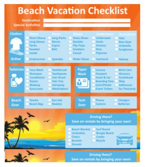 Vacation Checklist Template by Vacation Checklist Template 7 Free Word Pdf Documents