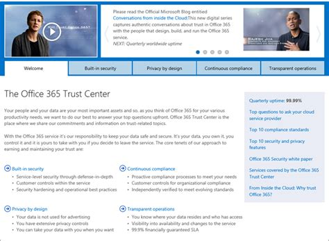 Office 365 Trust Center Enterprise Grade Cloud Services A High Bar Required For