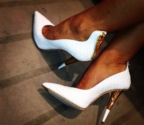 shoes white gold heels high heels gold outline white