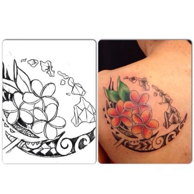 hawaiian islands tattoo designs hawaiian island and plumerias with a lil tribal design by