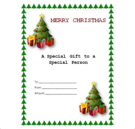 holiday gift certificate template free printable free printable gift certificate templates