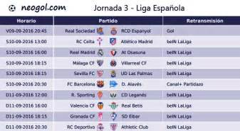 Calendario 2016 Liga Jornada 3 Liga Espa 241 Ola 2016 Laliga Santander