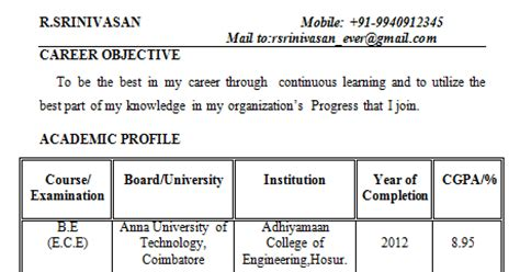 Mba Fresher In Hosur by Fresher Electronics Engineering Student Resume Format