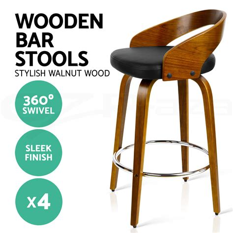 4 Wooden Bar Stools by 4x Wooden Bar Stools Swivel Barstool Kitchen Dining Chair