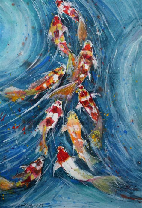 blue koi wallpaper paintings for sale koi fish artsyhome