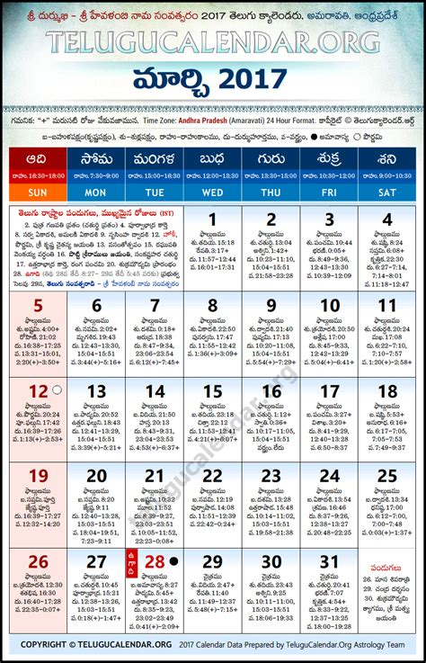 andhra pradesh telugu calendars 2017 march