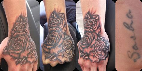 finger tattoo cover ups realistic roses cover up the
