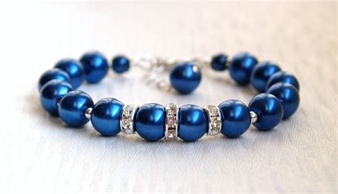 Blue Bracelet navy blue bridesmaid jewelry bracelet sapphire blue pearl