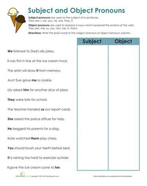 Subject Pronouns Worksheet by 25 Best Ideas About Pronoun Worksheets On