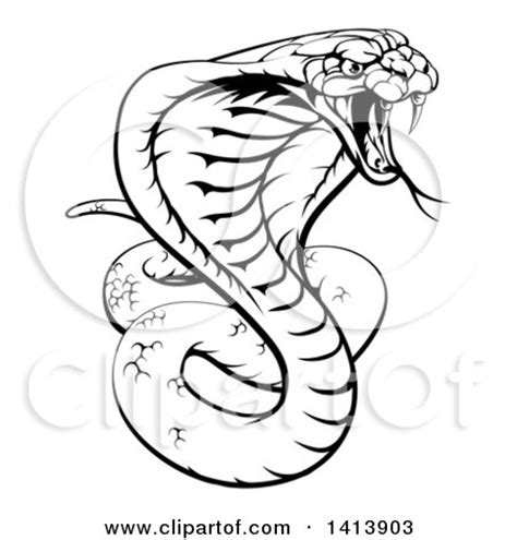 clipart of a black and white lineart angry king cobra