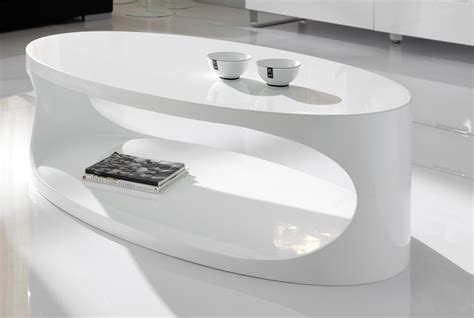 Table de salon ovale blanc laqu design PORI