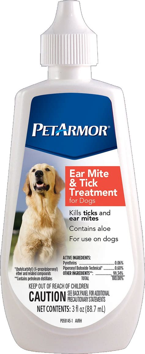 petarmor ear mite tick treatment for dogs 3 oz bottle