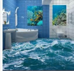 wallpaper 3D stereoscopic Seawater spray floor 3d mural PVC wallpaper
