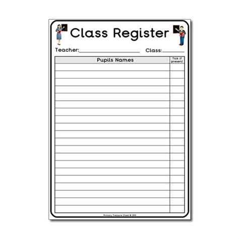 classroom register template school play classroom register worksheet primary