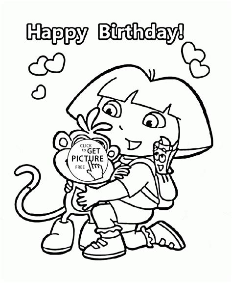dora cartoon happy birthday coloring page for kids