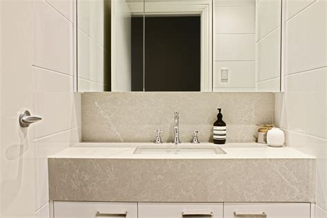 Caesarstone Vanity by Kerry Selby Brown Design Featuring Caesarstone Alpine Mist
