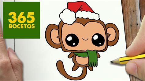 imagenes kawaii a lapiz como dibujar un mono para navidad paso a paso dibujos