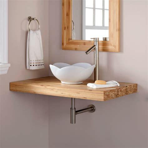 37 quot bamboo wall mount vanity top 2 quot drain cutout no