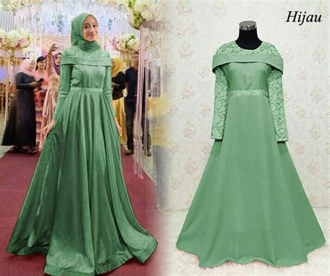 Gamis Set Balotelli Batik baju gamis pesta brokat kombinasi terbaru sabrina hijau