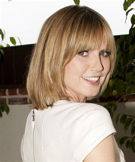 page boy haircuts for fine hair heidi klum medium straight casual bob hairstyle with blunt
