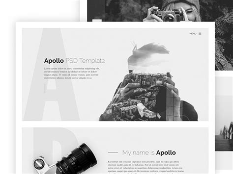 apollo one page html template for photographers freebiesbug