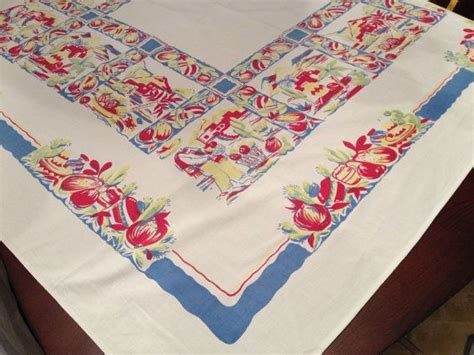 Mexican Table Cloth by Vintage Wilendur Southwest Mexican Tablecloth Yellow Blues